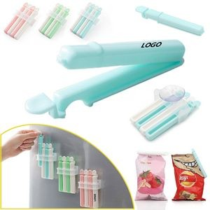 4 Pieces Food Bag Sealer Clip With Dispenser